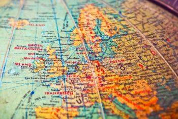 Europe on a globe map.