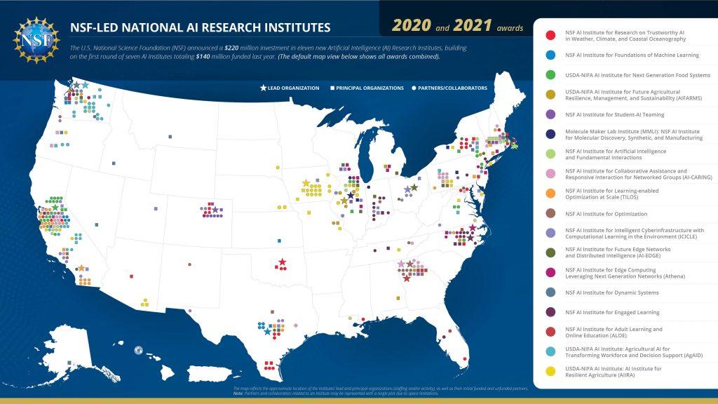 AI Research Institutes Map