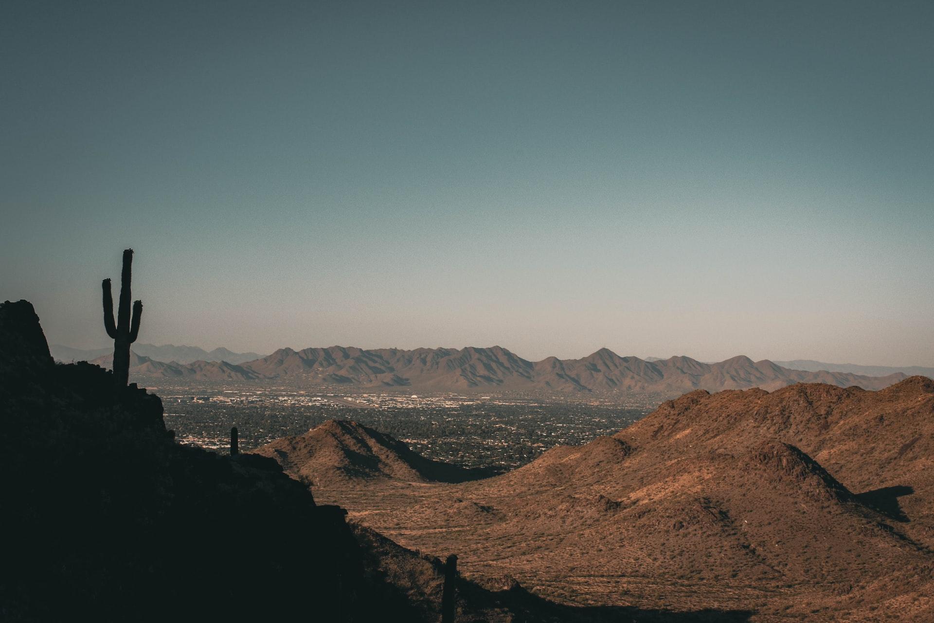 Desert and mountains in Phoenix, Arizona.