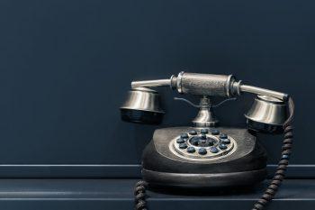 An old black telephone.